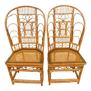 Vintage Brighton Pavilion Wing Back Rattan Chairs- a Pair