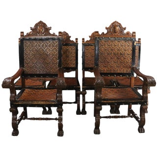 Dining Chairs Renaissance Castle Lions Set 6 For Sale