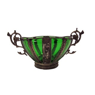 Antique Metal Bowl With Green Glass Liner For Sale