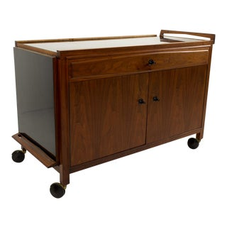 Mid-Century Modern John Kapel for Glenn of California Drop Leaf Expandable Bar Cart For Sale