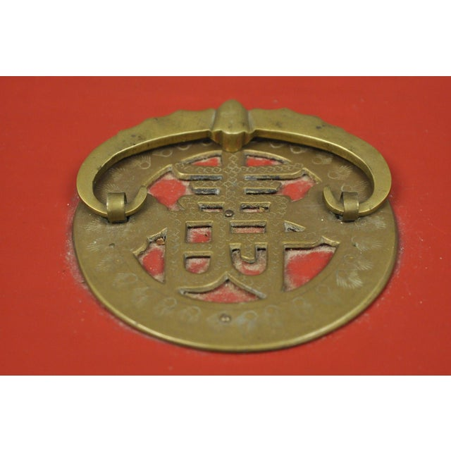 Vintage Red Lacquer Chinese Jewelry Trinket Box For Sale - Image 4 of 13