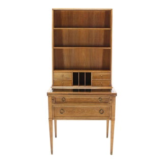 Transitional Baker Modern Petite Secretary With Bookcase on Slim Legs For Sale