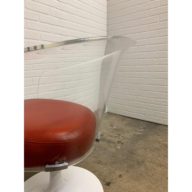 Burnt Orange Lucite and Leather Space Age Chairs For Sale - Image 8 of 12