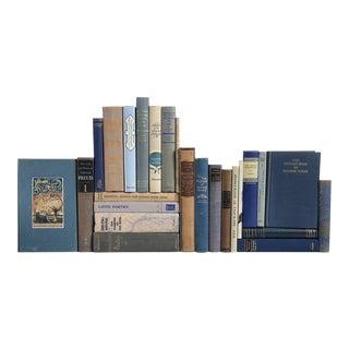Vintage Poetry, Prose & Philosophy Books in Blue & Tan - Set of 25