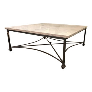 Bella Gray Stone Coffee Table With Flat Black Wrought Iron Base by Ella Home For Sale