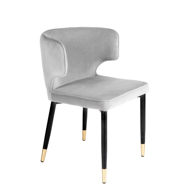 2010s Contemporary Kayla Upholstered Dining Chairs in Gray Velvet - a Pair For Sale - Image 5 of 7