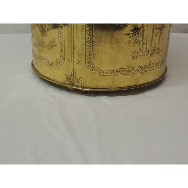 Vintage Polished Brass Asian Wastebasket Depicting Birds Flowers and Bamboo For Sale - Image 4 of 5