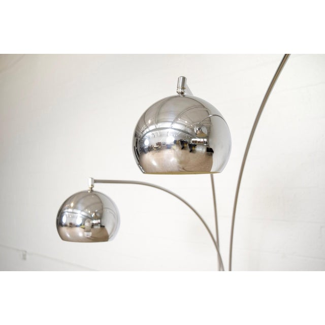 Mid Century Sonneman Style 3 Light Chrome Arc Floor Lamp with Marble Base For Sale - Image 9 of 11