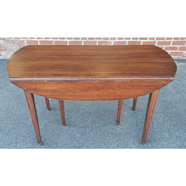 20th Century Mahogany Regency Style Brass Edge Drop Leaf Dining Room Table W/ 4 Leaves C1950 For Sale - Image 12 of 13