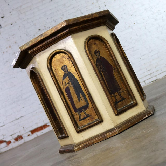 Mid 20th Century Vintage Hand Painted Octagon Drum Side Table Cabinet Attributed to Arte De Mexico For Sale - Image 5 of 13