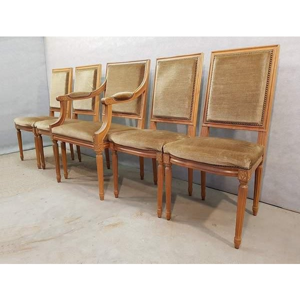 French Set of Five French Louis XVI Square Back Vintage Dining Chairs 4 Side Chairs and 1 Armchair For Sale - Image 3 of 13