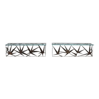 Italian Metal Art Wall Consoles - 1970's - a Pair For Sale