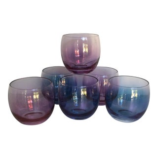 Blue and Pink Opalescent Mid-Century Modern Roly Poly Glasses - Set of 6