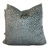 "Image of Kravet ""Circulate"" in Teal Cut Velvet 22"" Pillows-A Pair For Sale"