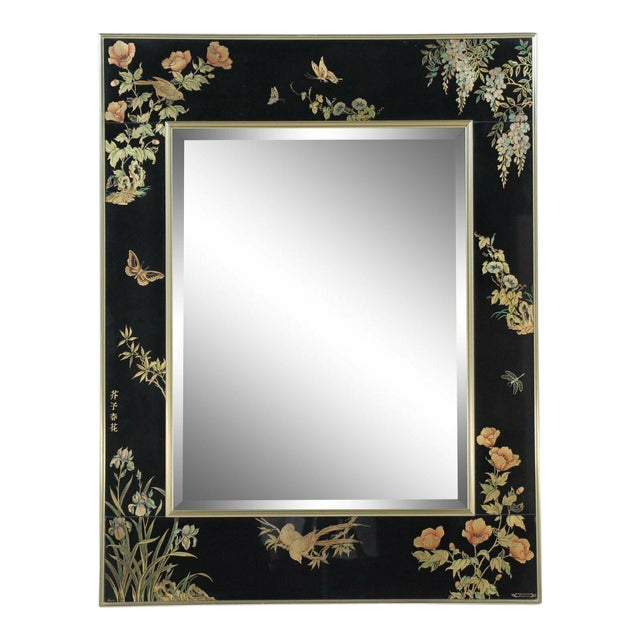 LaBarge Chinoiserie Style Eglomise Black Mirror For Sale