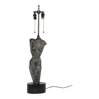 Tall Heifetz Cerused Oak Female Torso Table Lamp, Circa Early 1950s For Sale
