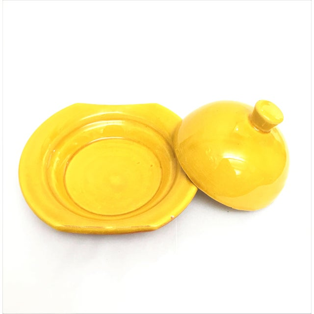 Hand Painted Yellow Small Moroccan Ceramic Serving Dish - Image 4 of 4