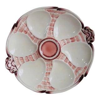 Majolica Oyster Plate Sarreguemines, Circa 1900 For Sale