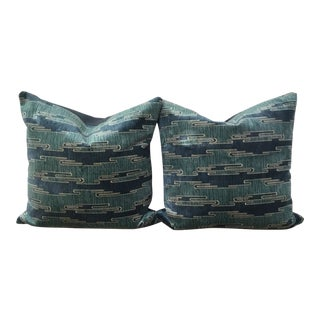 """Sora"" Blue Silk Velvet Pillows - A Pair"