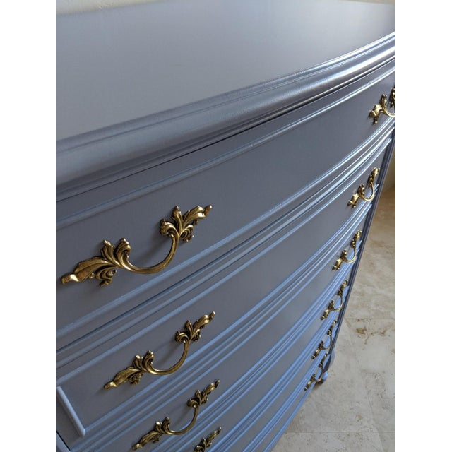 1950s French Provincial Dixie Light Blue Gloss Highboy For Sale - Image 9 of 11
