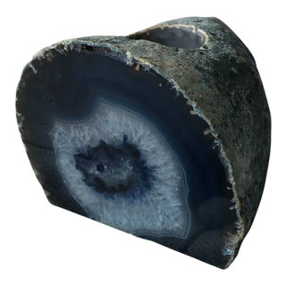 Blue Agate Slice Candle Holder For Sale
