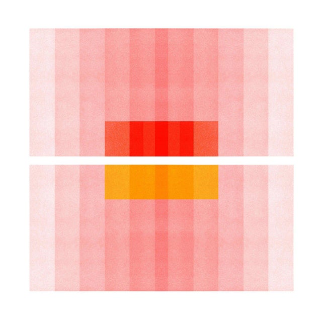 "Contemporary ""Color Space Series 27: Pink, Red, Yellow"" Abstract Print - 8"" X 8"" For Sale - Image 3 of 4"