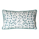 Image of Contemporary Brunschwig and Fils Les Touches Animal Print in Aqua Designer Pillow Cover - 12x20 For Sale