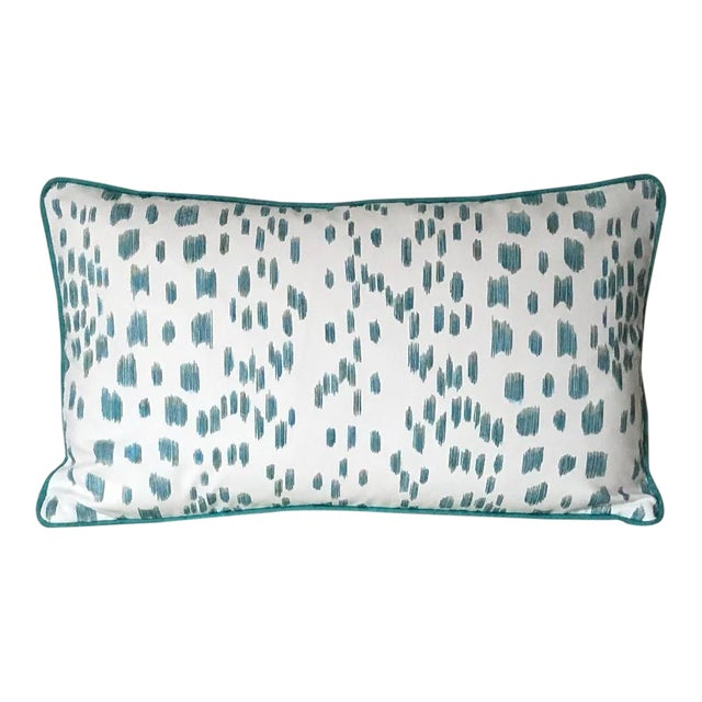 Contemporary Brunschwig and Fils Les Touches Animal Print in Aqua Designer Pillow Cover - 12x20 For Sale