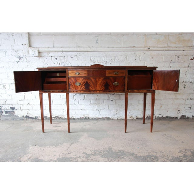 Limbert Hepplewhite Style Inlaid Flame Mahogany Sideboard Buffet, Circa 1930s For Sale - Image 10 of 11