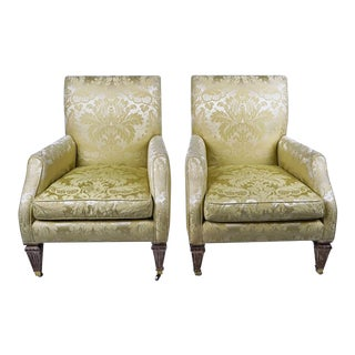 Silk Damask Club Chairs by Baker Furniture Company - a Pair For Sale