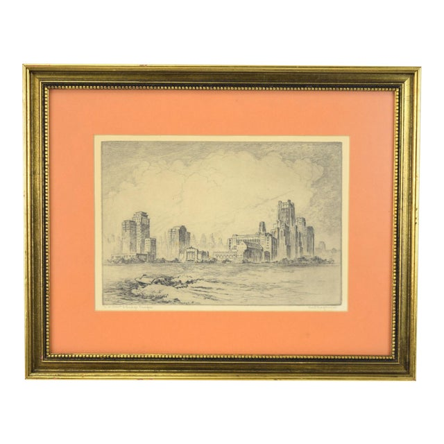 1950's William Kent Hagerman Chicago Lakefront Skyline Speedboat Etching Print For Sale