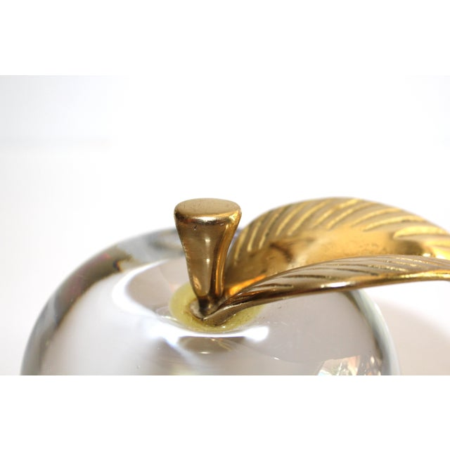 1970's Crystal Apple Paperweight With Brass Stem & Leaf For Sale - Image 10 of 11