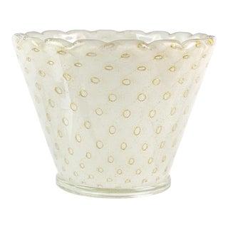 Murano Controlled Bubble Pulegoso Gold Flecks Italian Art Glass Flower Pot Vase For Sale
