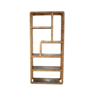 Rattan Wrapped Franco Albini / Milo Baughman Style Wicker Cane Glass Bookshelf For Sale
