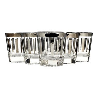1960s Silver Lined Glass Tumblers, Set of 6