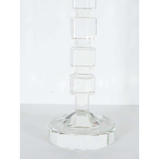 Art Deco Style Geometric Cut Crystal Candleholders by Shannon For Sale In New York - Image 6 of 9