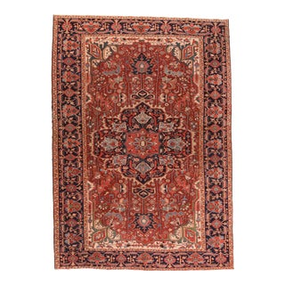 Antique Red Heriz Persian Area Rug For Sale