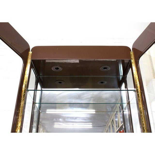 Tall High Gloss Lacquer Finish Rounded Beveled Glass Display Cabinet Wall Unit For Sale - Image 4 of 12