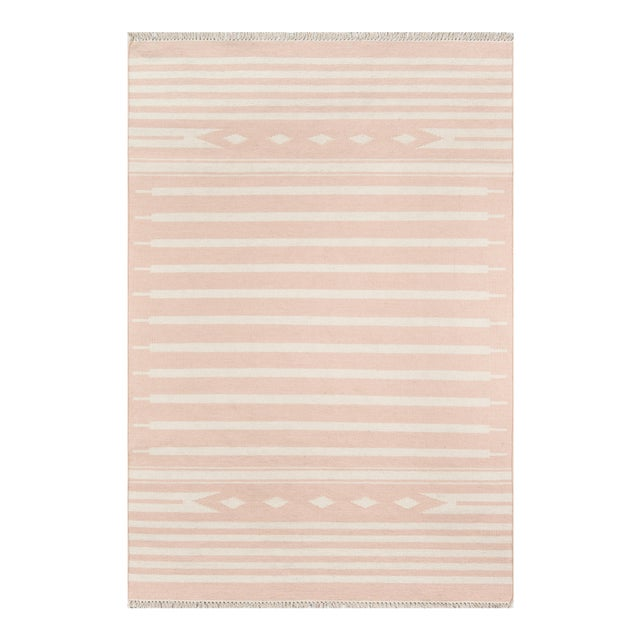 """Erin Gates by Momeni Thompson Billings Pink Hand Woven Wool Area Rug - 3'6"""" X 5'6"""" For Sale"""