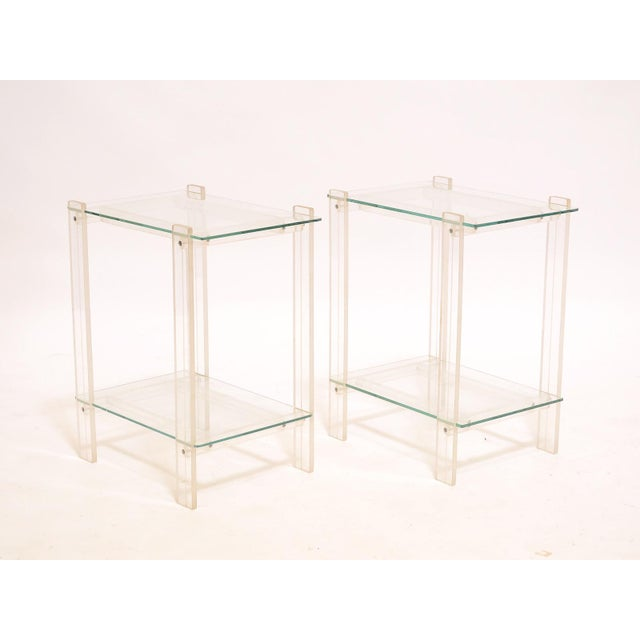 Pair Of Lucite And Glass End Tables/ Night Stands - Image 4 of 7