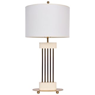 """Vintage Mid Century Parzinger Style Mutual Sunset White Enamel & Brass """"Spindle"""" Table Lamp For Sale"""
