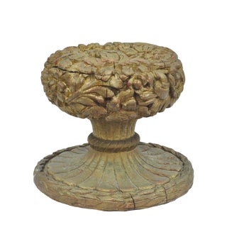 Vintage Spanish Hollywood Regency Carved Wood Floral Gold Coffee Table Base For Sale