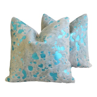 "Boho Chic Aquamarine & White Cowhide and Velvet Pillows 22"" Square - Pair For Sale"