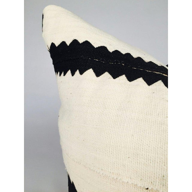 White and Black Striped Mudcloth Pillow - Image 4 of 5