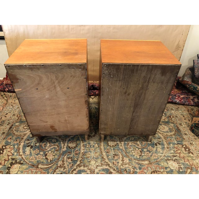 Mid Century Art Deco Night Stands W Movingui Wood Vaneer - a Pair For Sale - Image 10 of 13