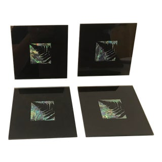 Vintage Glass and Abalone Coasters - Set of 4 For Sale