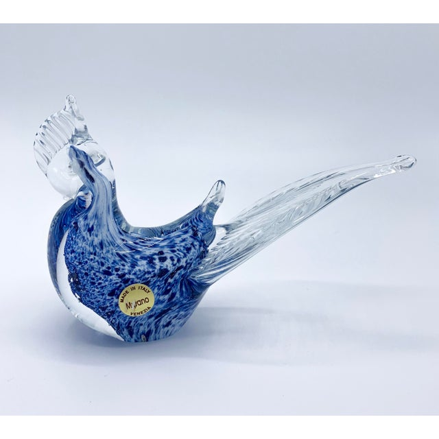 Blue Blue Aventurine Venetian Murano Glass Bird Paperweight For Sale - Image 8 of 9
