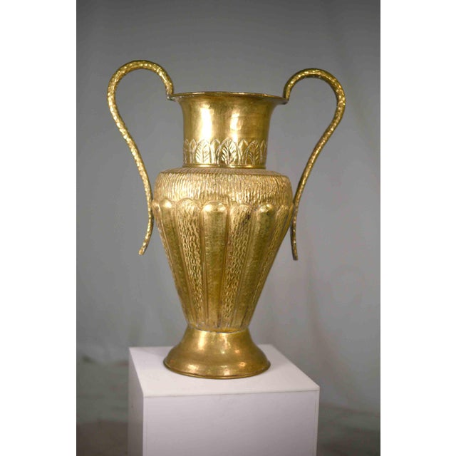Neoclassical Vintage Classical Hammered Brass Amphora 22 Inches For Sale - Image 3 of 13
