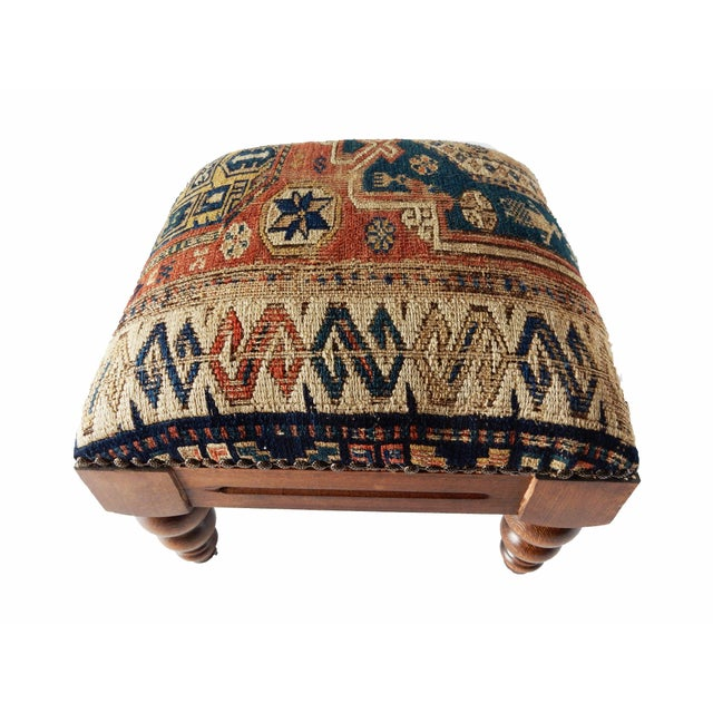 Antique Caucasian Sumac Wooden Footstool - Image 2 of 6