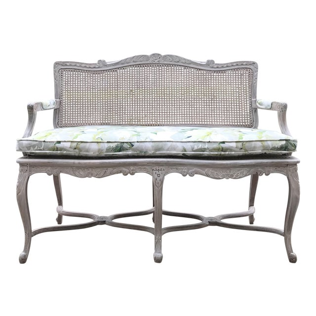 1950s Vintage Country French Caned Carved Settee Designers Guild Floral Peony Print For Sale